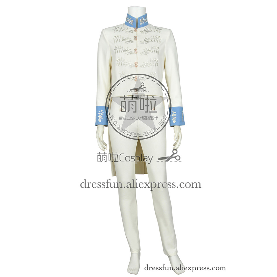 Cinderella 2015 Film Cosplay Prince Charming Kit Costume Beige Outfits Full Set Suit Comfortable Clothing Uniform Fast Shipping