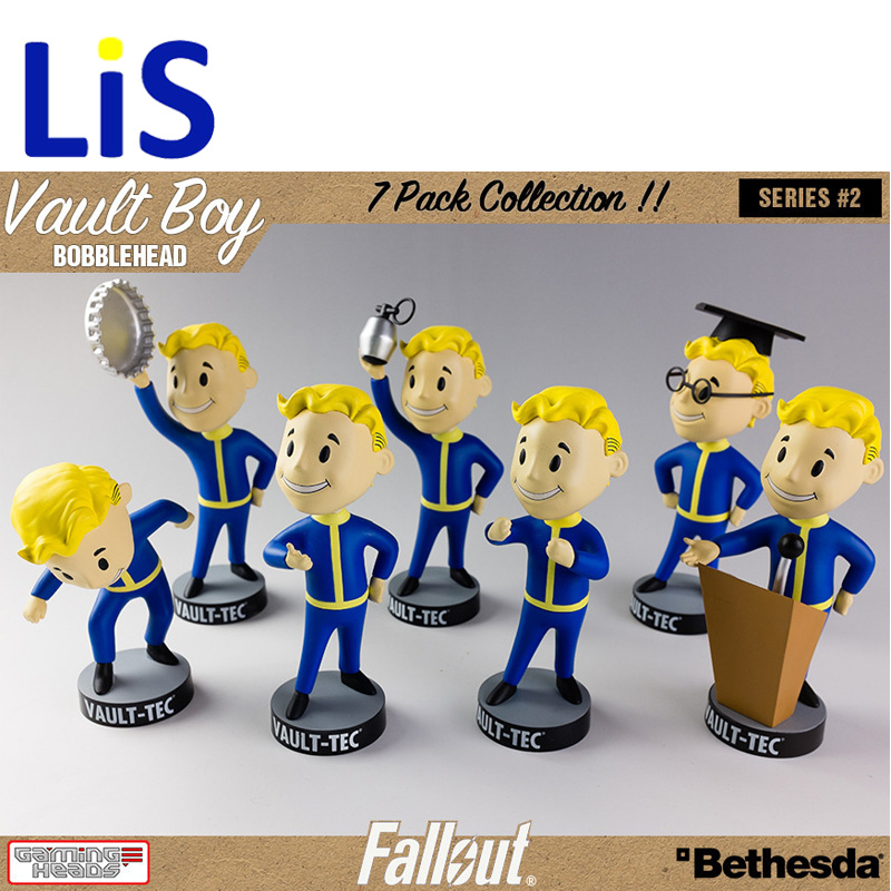 Lis 13CM anime figure Gaming Heads Fallout 4 Vault Boy TOY Bobbleheads Series 1action figure collectible model toys brinquedos fallout vault boy bobble head pvc action figure collectible model toy brinquedos 7 styles