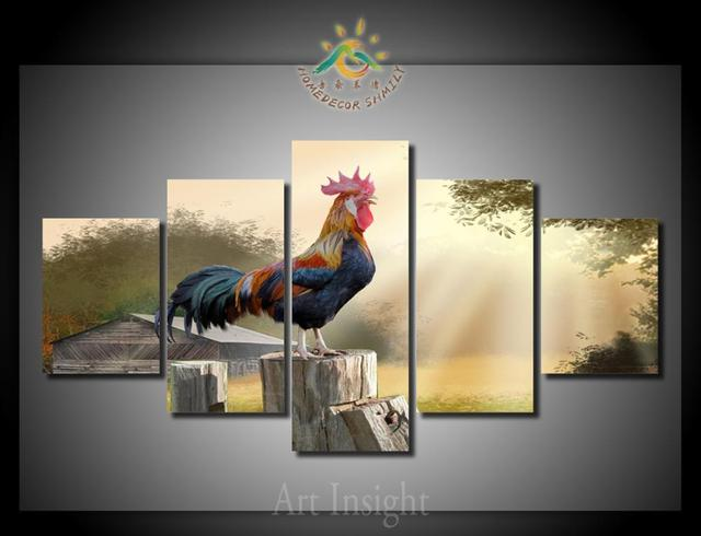Aliexpress Buy 5 Piecesset Rooster Wall Art Paintings Picture