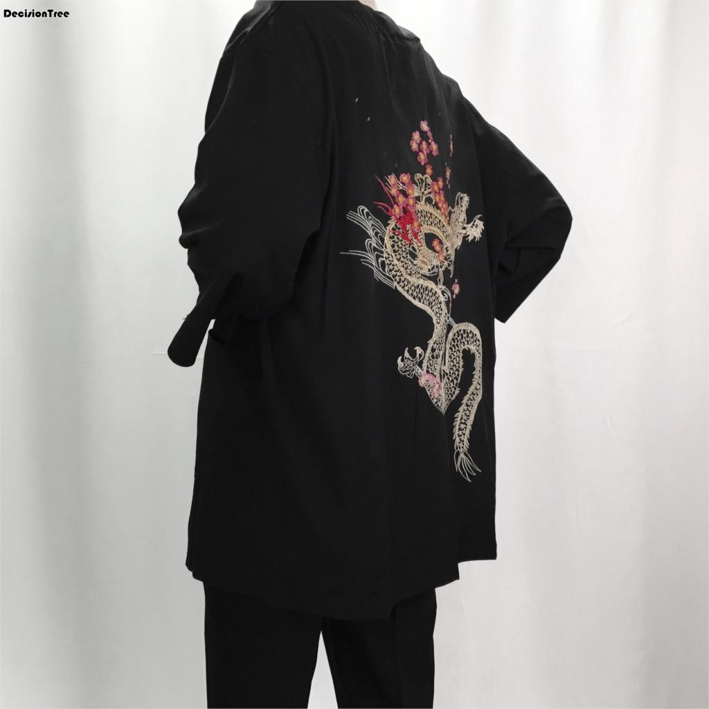 2019 new linen kimono jackets men ethnic cotton linen jackets cherry dragon embroidery chiffon sun protection women clothing