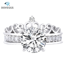 DovEggs Crown Shaped 14K White Gold Center 3ct Carat 9mm F Color Moissanite Engagement Ring For Women Wedding Bridal Sets