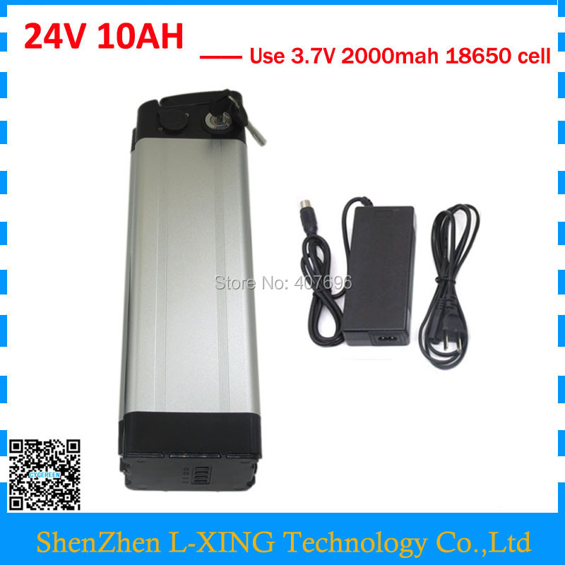 24V 10AH Silver fish batterie 24 v 10ah lithium ion Ebike battery 15A BMS with 29.4V 2A Charger Free customs fee free customs taxes super power 1000w 48v li ion battery pack with 30a bms 48v 15ah lithium battery pack for panasonic cell