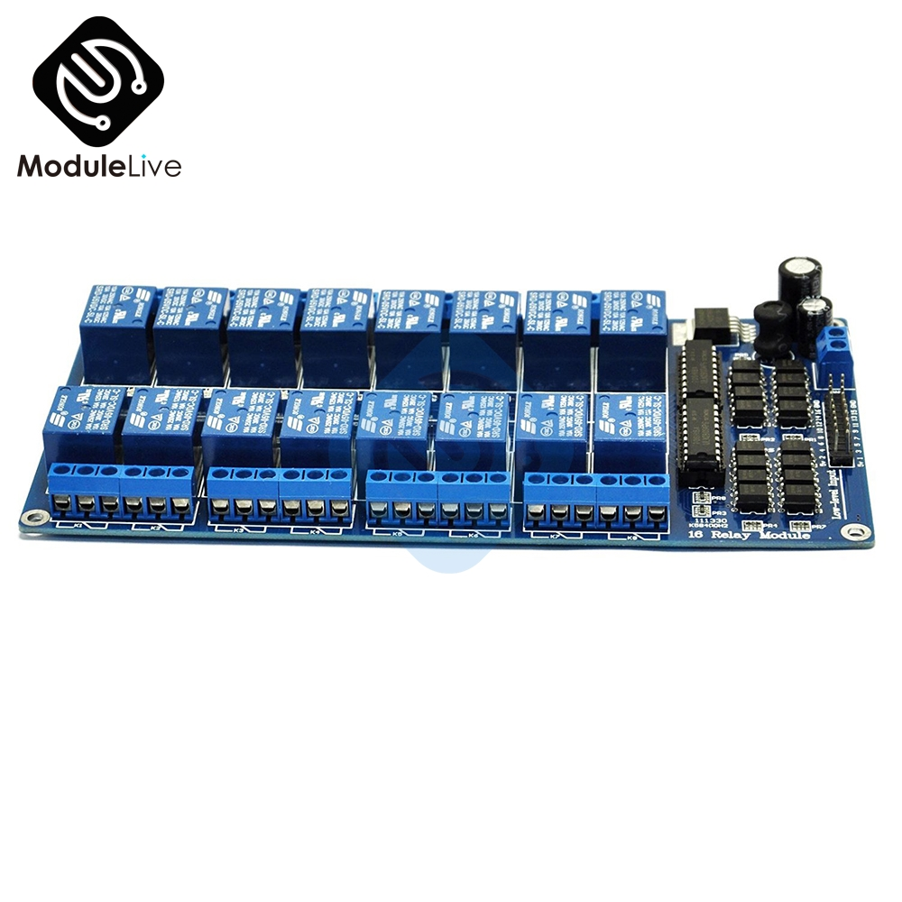 16-Channel 5V Relay Shield Module With Optocoupler LM2576 Power Supply For Arduino   PiC ARM AVR