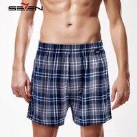 Seven7 Brand Men Casual Shorts 100 Cotton Classic Plaid Shorts Half Length Pants Comfortable Men Home