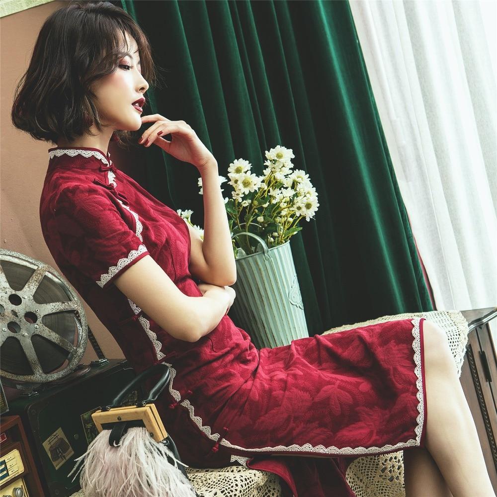 Vintage Short Sleeve Lady Girl Slim Qipao Cheongsam Dresses