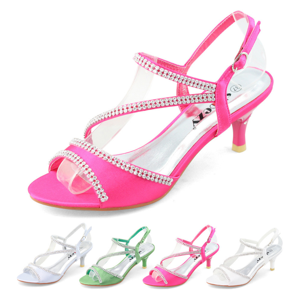 823547ba97b SHOEZY brand new low heel wedding party shoes with rhinestone satin strappy  diamante sandal thin heels silver green white pink