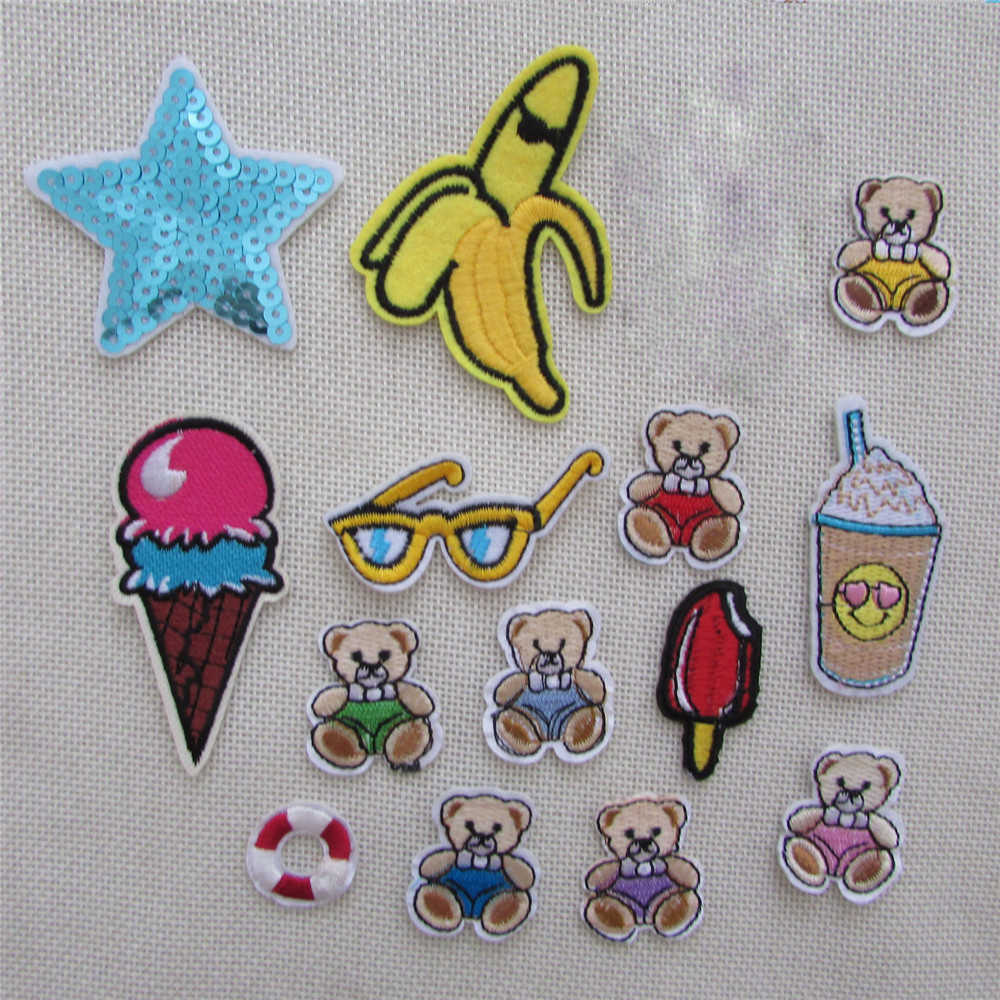 15 kind cartoon style patch hot melt adhesive applique embroidery patches stripes DIY clothing accessory patch C707-C721