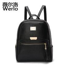 Werlo известный дизайнер женщины рюкзак опрятный стиль студент мешок школы женский back сумки искусственная кожа леди сумка mochila sj022