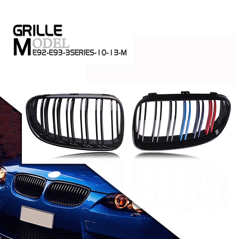 1 Pair 100% brand new and high-quality Gloss Black Car Front Bumper Kidney Grilles for 2010-2014 BMW 3 Series E92 E93 3 pair front