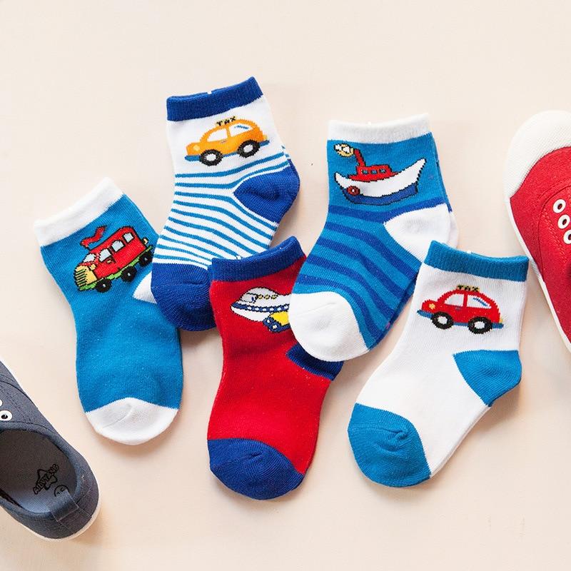 5pcs / lot 2019 podzim zima nové dětské ponožky měkké bavlněné karikatura auto zvíře děti děti ponožky pro chlapce dívka oblečení doplňky