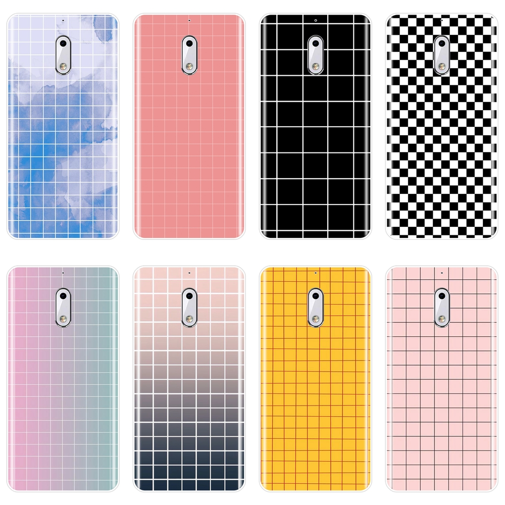 Phone Case For <font><b>Nokia</b></font> 1 2 3 5 <font><b>6</b></font> 8 X Yellow Gird Pink Black Lattice Simple Aesthetic Soft Silicone <font><b>Back</b></font> <font><b>Cover</b></font> For <font><b>Nokia</b></font> X6 7 Plus image