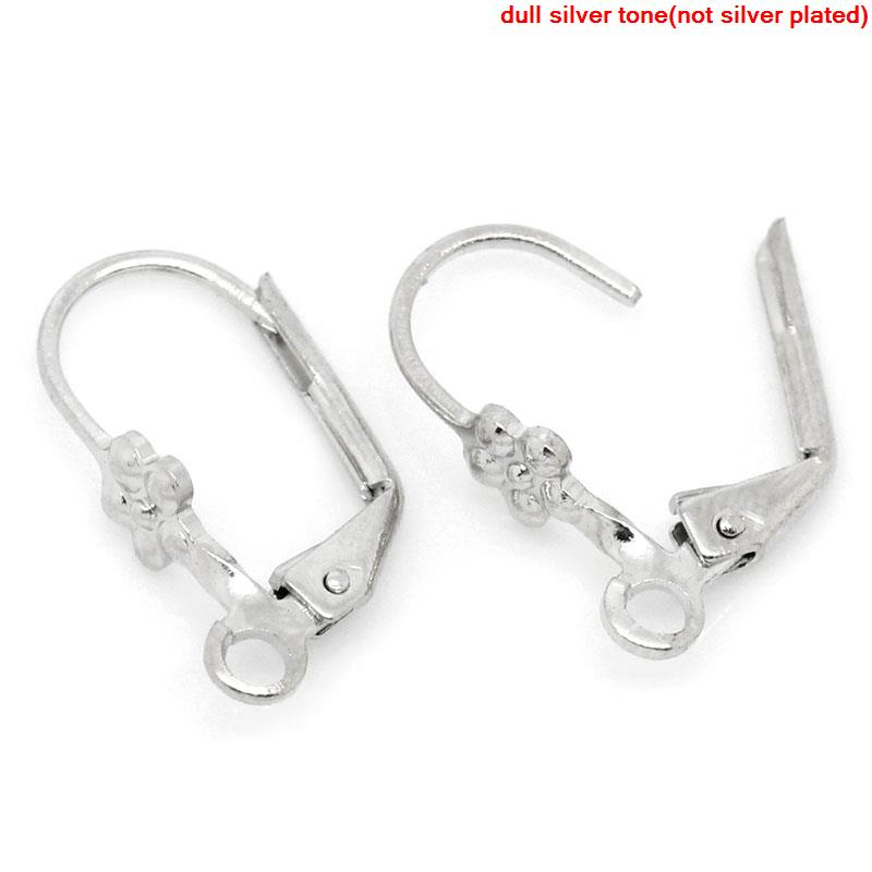 DoreenBeads Zinc Metal Alloy Earrings Clips Earring Findings Silver Color 16mm( 5/8
