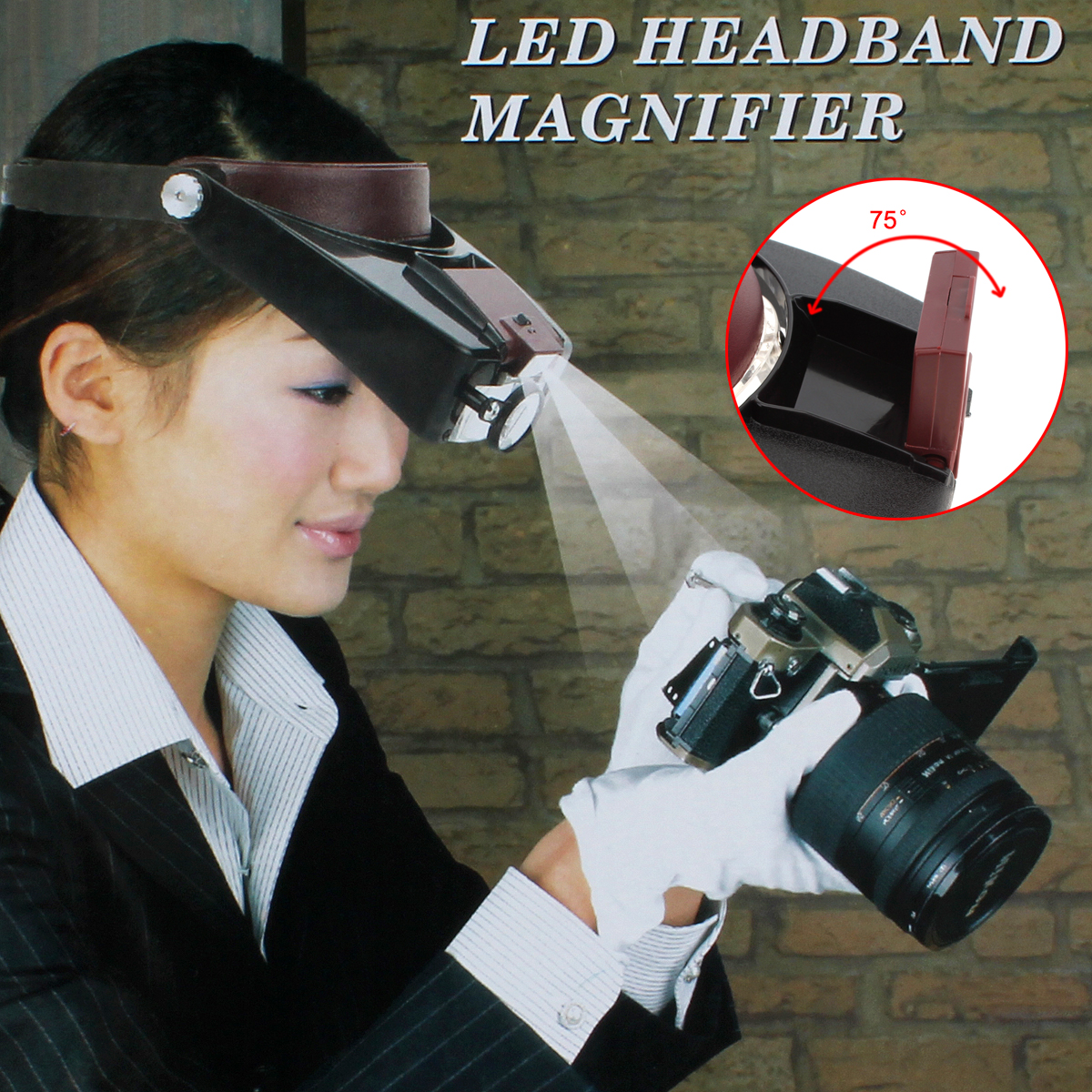 Headband 10X Magnifier Head Magnifying Glass Lens Loupe with LED Light for Handcraft / Repairing