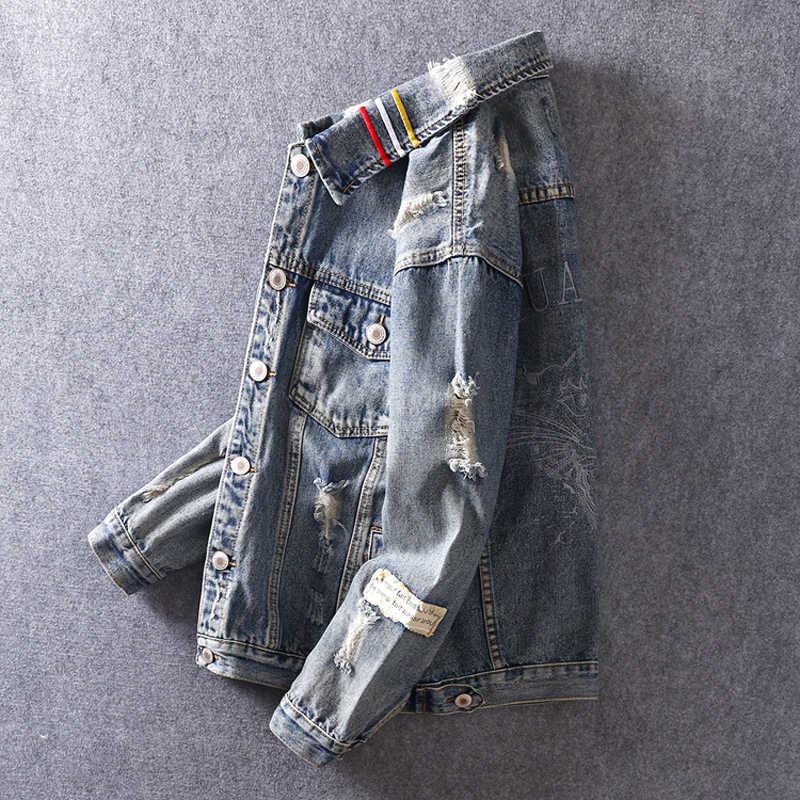 Europäische Amerikanische Mode Männer Jacke Retro Blau Tiger Stickerei Streifen Design Zerrissene Mäntel Street Hip Hop Denim Jacken Männer