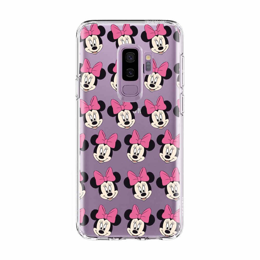 Подарки Микки розового цвета с «Минни Маус» с бантом и принтом «Мини Маус» Детское чехол для телефона для samsung S9 S8 плюс S6 S7 край A3 A7 A5 2017 A8 A6 Plus Мягкий силиконовый чехол из ТПУ