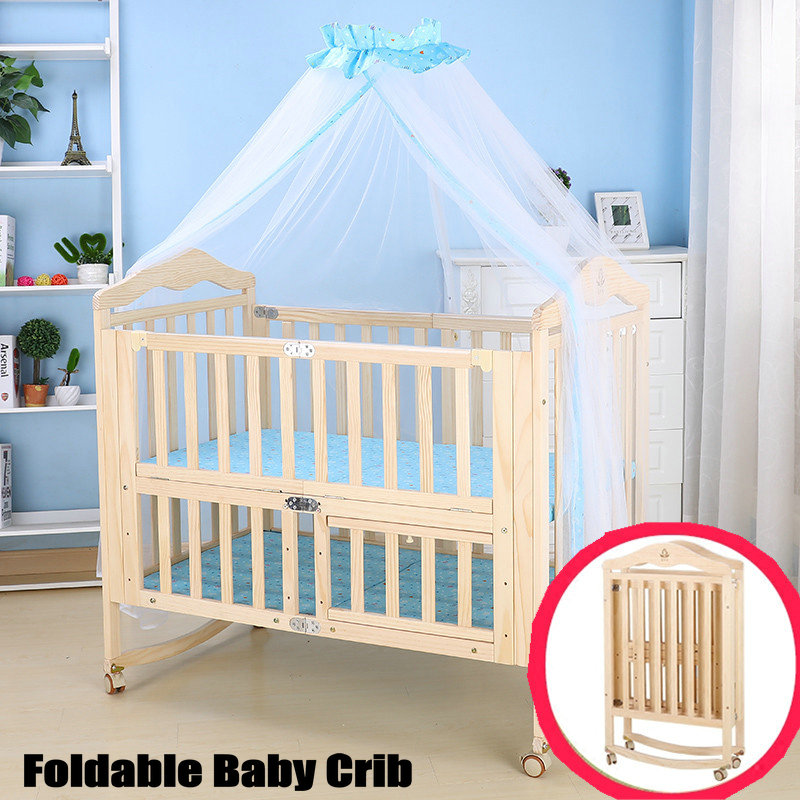 Foldable Pine Wood Baby Crib with 4 Lockable Wheels, No Paint Baby Rocking Cradle, Portable Infant Cot with Mosquito Net corn husks cradle no paint wood frame cotton baby bassinet with mosquito net and mat steel frame baby cradle baby rocking crib