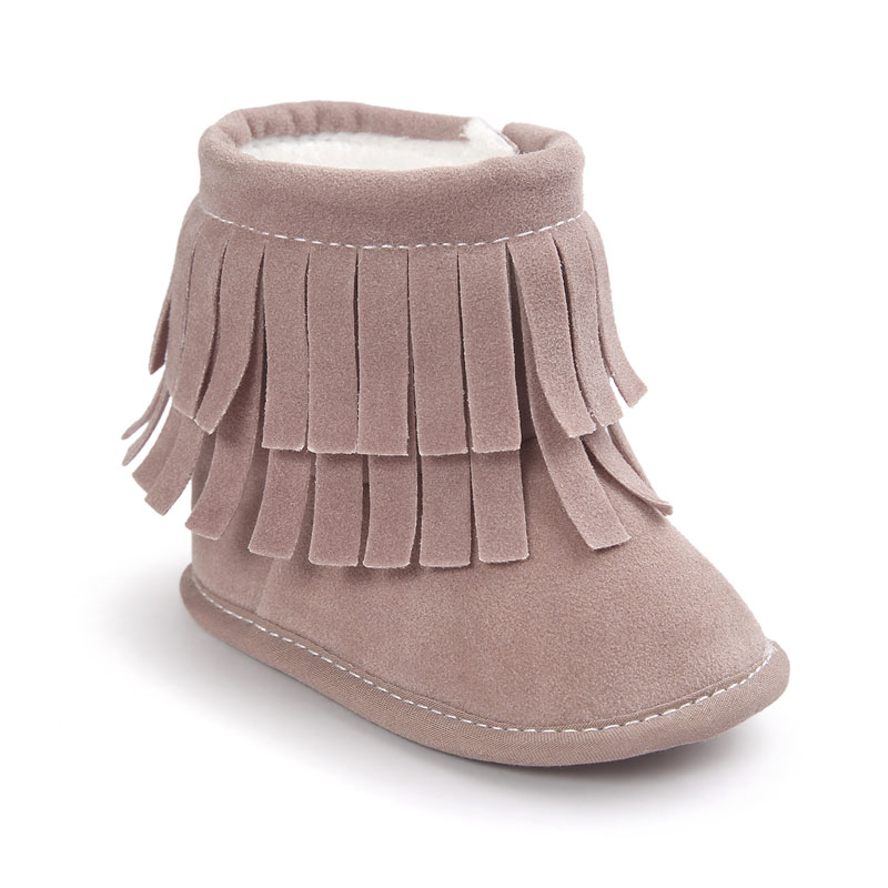 PU Suede Leather Infant Toddler Fringe Winter Fashion Super Keep Warm Moccasins Soft Moccs First Walkers Boots Shoes Booties
