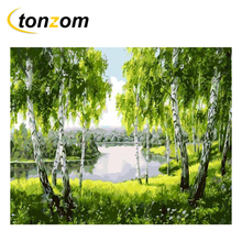 RIHE Dense Tree In Lake Diy Painting By Numbers Abstract Green Forest Oil On Canvas Cuadros Decoracion Acrylic Wall