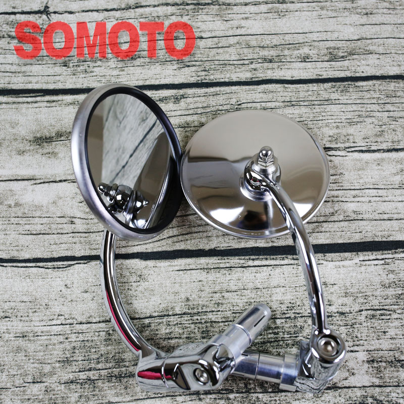 Универсальный кафе-рейсер зеркало мотоцикл нержавеющая сталь зеркалом заднего вида винтажные мотоботы рукоятка зеркалом заднего вида
