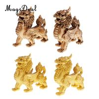 2PCS Feng Shui Resin Pi Xiu Figurine to Attract Wealth Good Luck Home Decoration