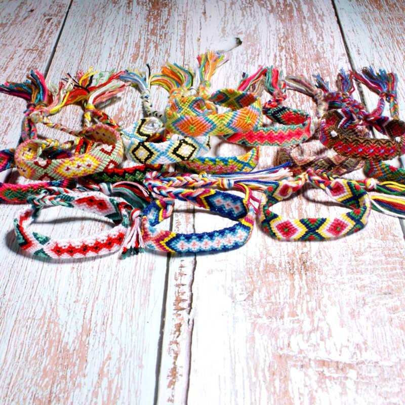 ムン · ガールブラジル自由奔放に生きる編組ブレスレット女性友情ボヘミアン Handweave 綿ロープ安いエスニックチャーム Pulseras ドロップシップ