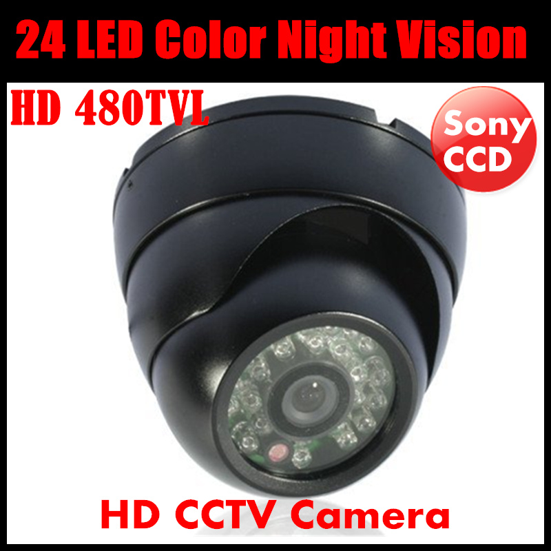 24 LED Color Night Vision Surveillance Dome Camera Indoor HD 480TVL Security CCD IR Surveillance CCTV Camera 1 3 ccd waterproof surveillance security camera with 42 led night vision white dc 12v