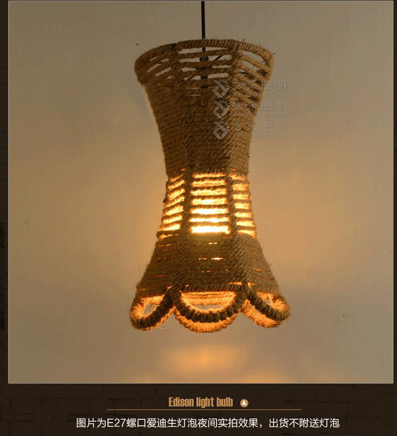 Americian Country Handwork Weave Hemp Rope Shade Pendant Lamp Personality Creative Restaurant Decoration Light Free Shipping