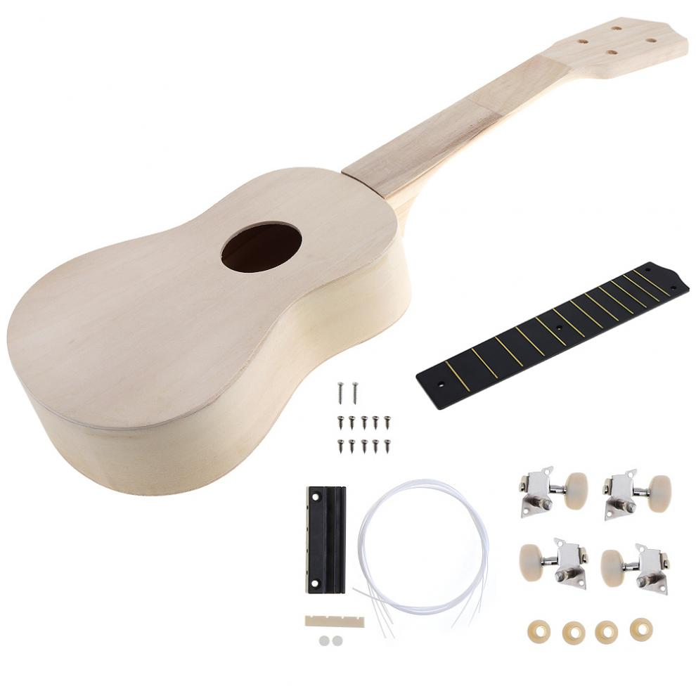21 Inch Ukulele DIY Kit Hawaii Guitar Handwork Support Painting Toy Assembly for Amateur