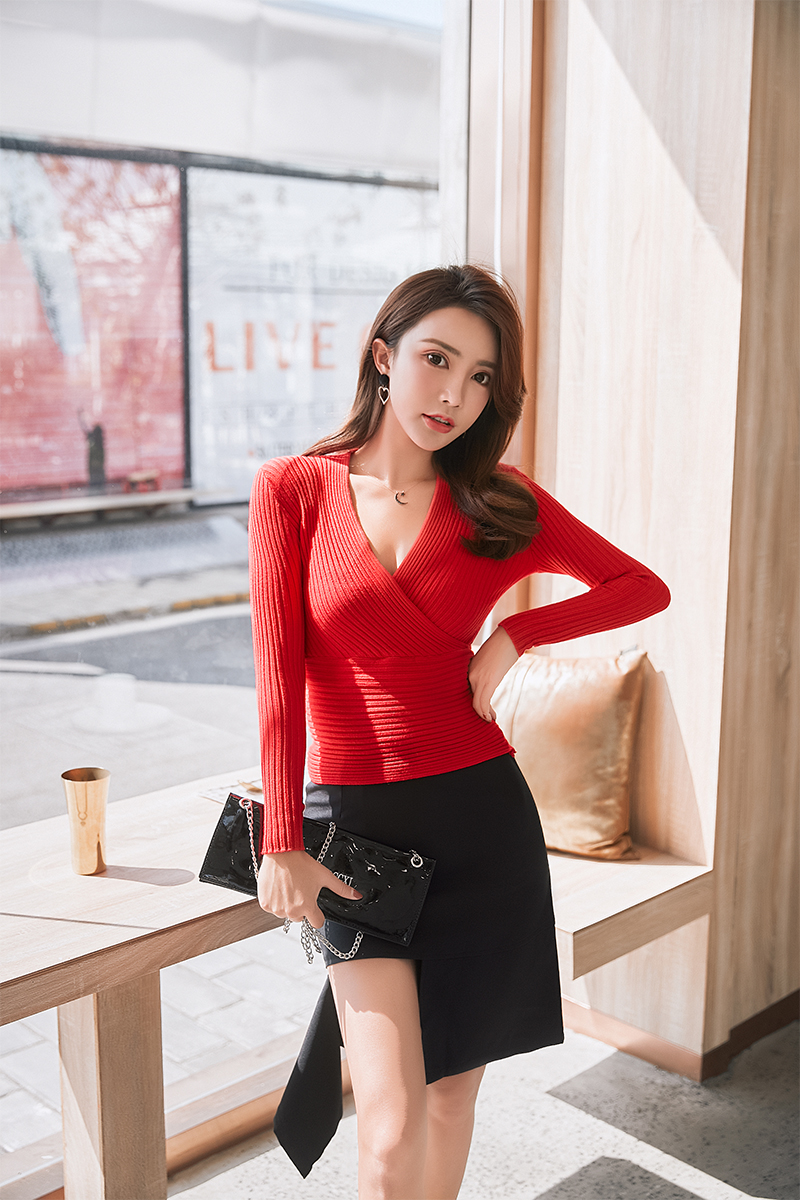 19 New Sexy Deep V Neck Sweater Women's Pullover Casual Slim Bottoming Sweaters Female Elastic Cotton Long Sleeve Tops Femme 25