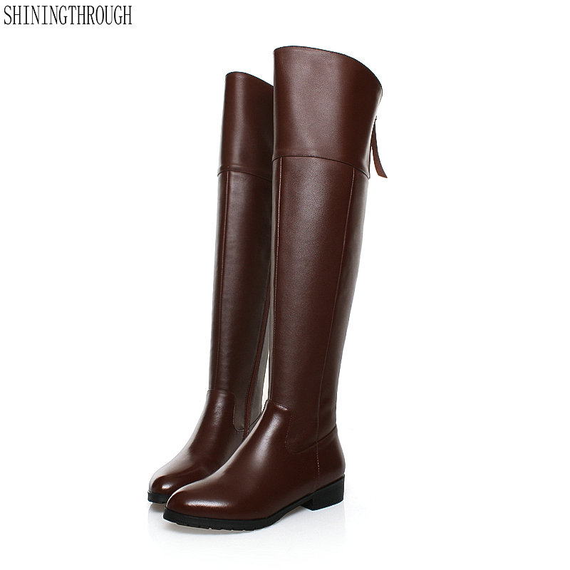 Women knee high westran Boots 3cm low Heels Female boots genuine leather women casual shoes large