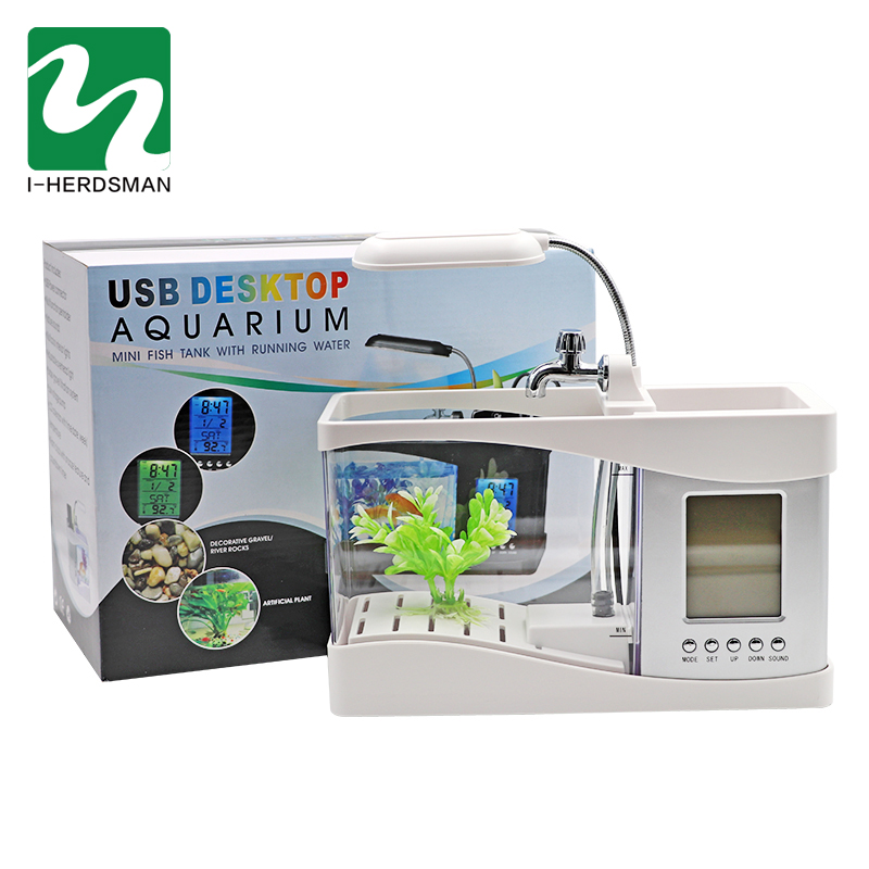 Aquarium USB Mini Aquarium Aquarium Aquarium avec lumière de lampe à LED écran d'affichage LCD et horloge Aquarium Aquarium noir/blanc - 6