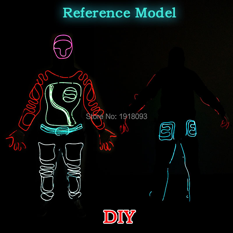 Party Decoration EL Suits LED Neon Glowing DIY Cloth Supplies Gloves Shoes Light Clothing new style holiday party decoration supplies el wire suit diy lights cloth men dance clothes for party decor
