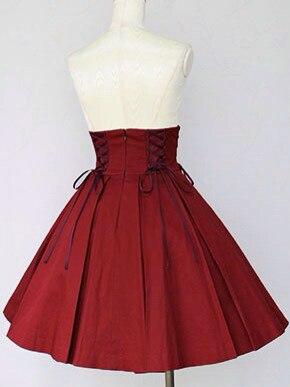 Acceptez la personnalisation belle jupe lolita rouge vin mignon de haute qualité une ligne lolita costume JK style japon corée style jupe AQ01
