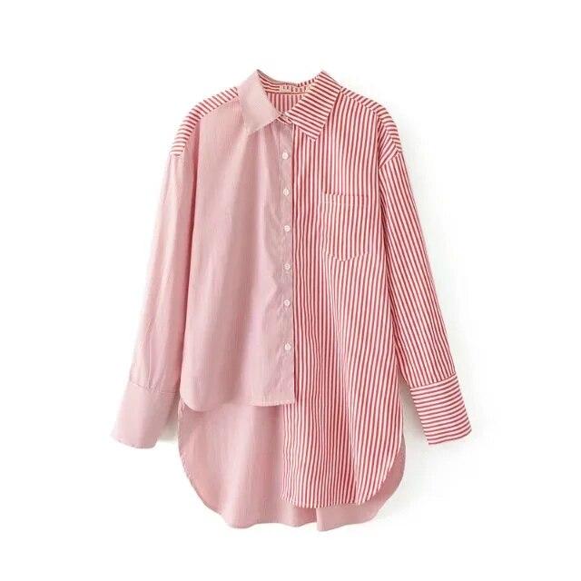 New Asymmetrical <font><b>Striped</b></font> Shirt Spring Autumn <font><b>Mixed</b></font> Color Loose Slim Personality Long-sleeved Shirt Female Casual <font><b>Tops</b></font>