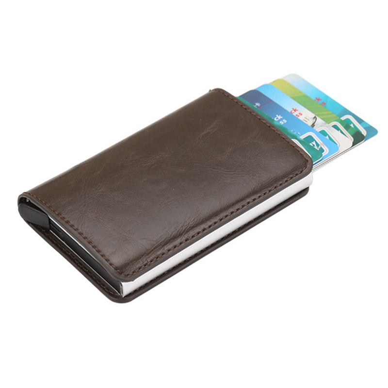 Travel Card Wallet Business-Card-Holder Crazy-Horse Rfid Aluminium Women And PU