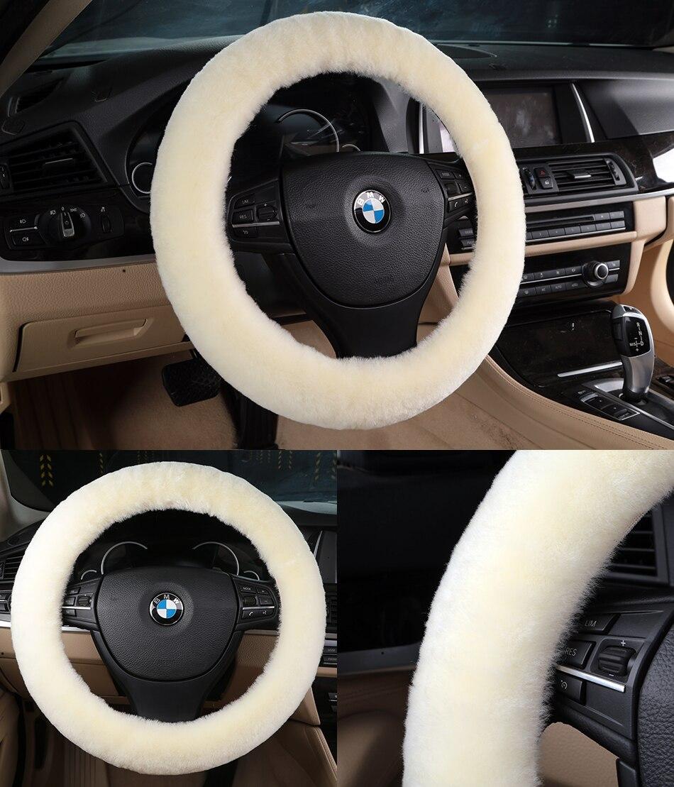 Classic Sheepskin Car Steering Wheel Covers Made of Australian Merino Fur
