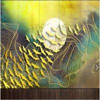 Custom Chinese mural wallpape 3d golden rich ink lines living room TV background wall paper r Asuka Rising Sun wallpaper