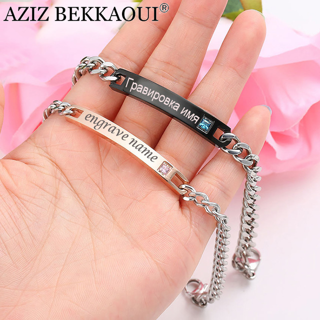 AZIZ BEKKAOUI Personalized Name Stainless Steel Bracelets For Women Men ID Brace