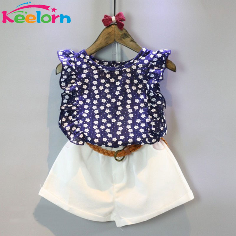Keelorn Girls Clothing Sets 2017 Summer New Girls Clothes Casual Wear Floral Sleeveless T-shirt + Shorts Suit Children clothing
