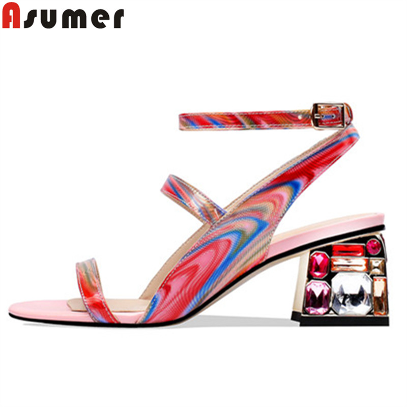 ASUMER size 34 41 new genuine leather shoes women buckle summer sandals crystal square high heels shoes prom wedding sandals
