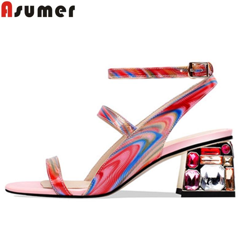Asumer 크기 34 41 새로운 정품 가죽 신발 여성 버클 여름 샌들 크리스탈 광장 하이힐 신발 댄스 파티 웨딩 샌들-에서하이힐부터 신발 의  그룹 1
