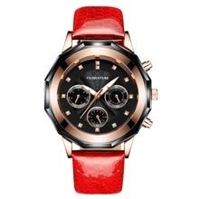 цена New 2019 brand ladies leather watch large round dial three-eye sports and leisure watches quartz charming watch free shippin онлайн в 2017 году