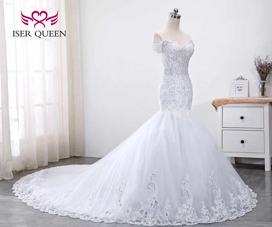 כובע שרוול יוקרה נצנצים תחרה חתונה שמלת 2020 בתוספת גודל בת ים חתונת שמלות אפליקציות משפט רכבת כלה שמלת WX0014