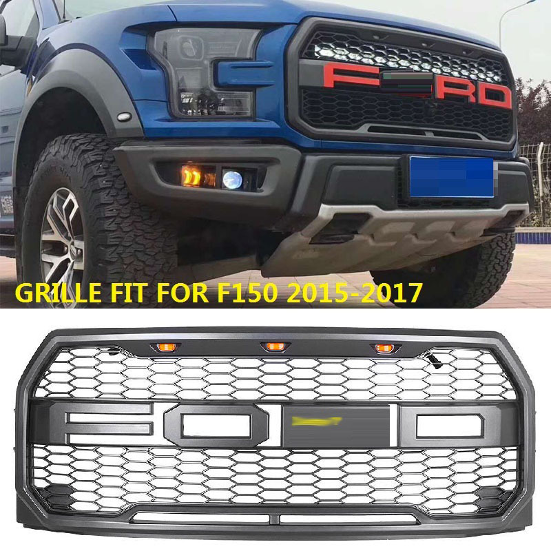 Higt Quality ABS Car Raptor Front Grille With LED Decoration For Ford F150 2015-2017 Up Car Styling