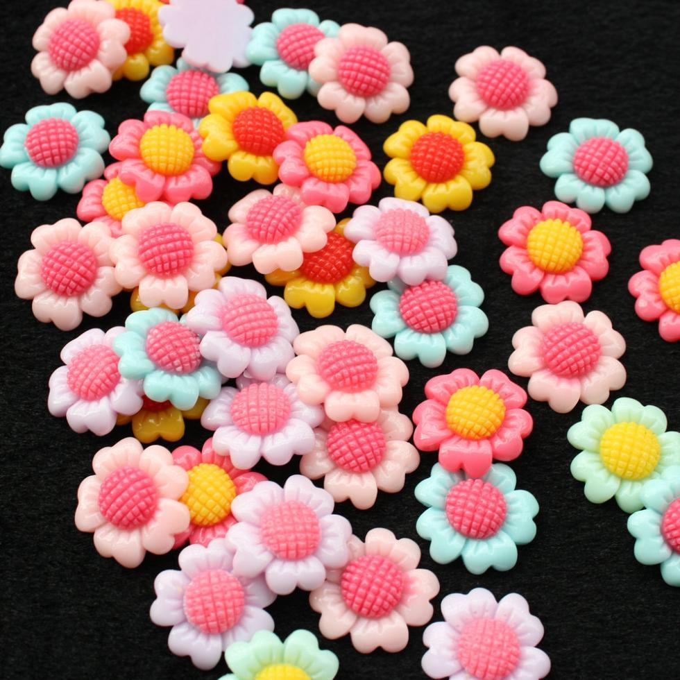 220pcs mix color 2 tone sun flower Daisy Sunflower Resin Cabochons, Daisy Cabs 18mm