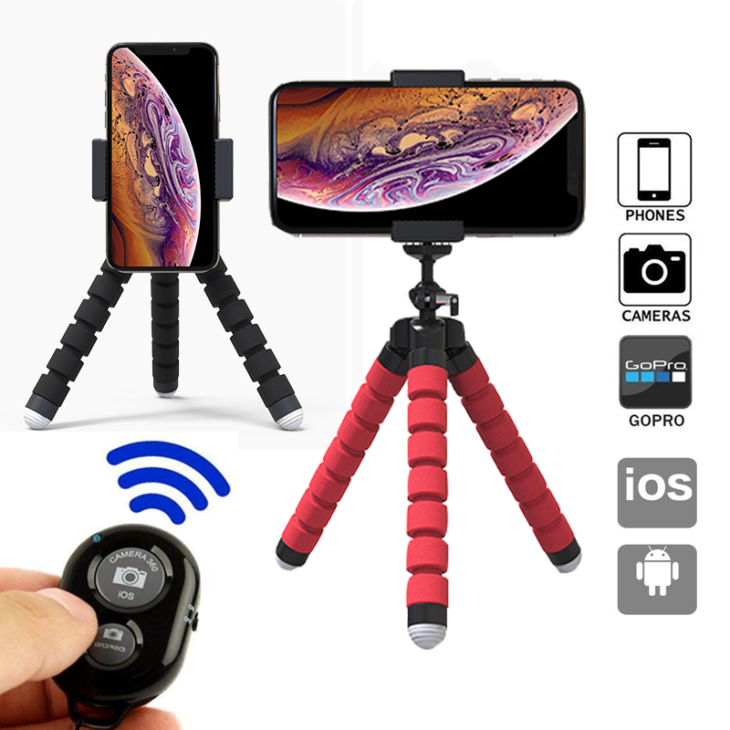 Mini Flexible Sponge Octopus Tripod For Gopro Camera Tripod For IPhone Xiaomi Huawei Smartphone Accessory With Phone Holder Clip