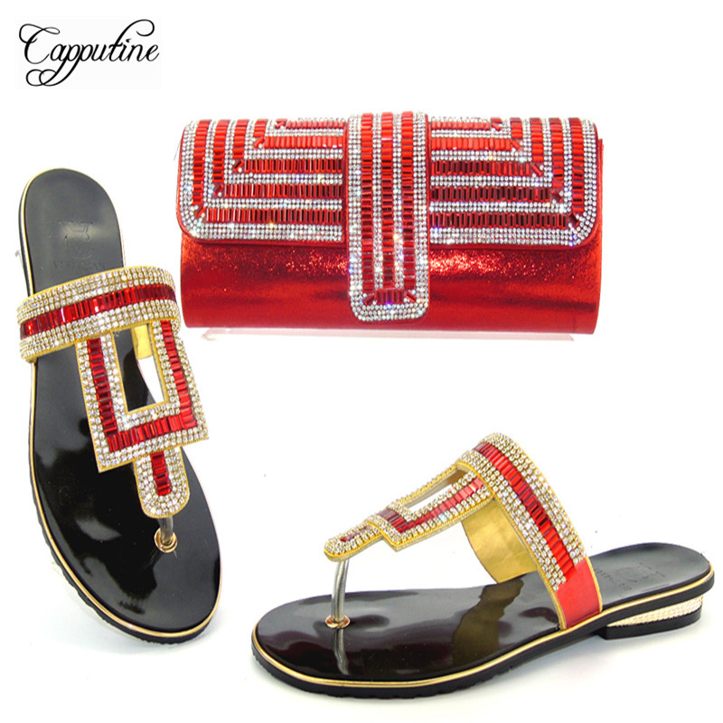 Capputine 2017 African Style Rhinestone Shoes And Purse Set Summer Woman Slipper Pumps Shoes And Bag Set For Party THS17-07 capputine summer style africa low heels woman shoes and bag fashion slipper shoes and purse set for party size 38 42 tx 8210