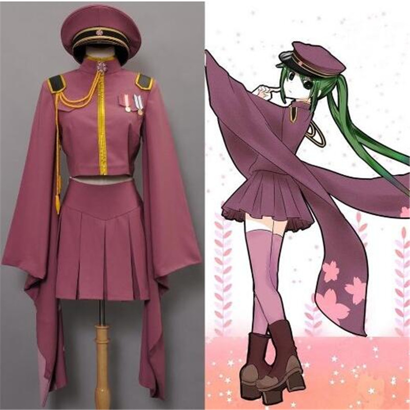 Vocaloid Senbonzakura Cosplay Costumes Hatsune Miku Full Set Cosplay Uniforms (Top + Skirt + Cap + Socks + Gloves+suspender)