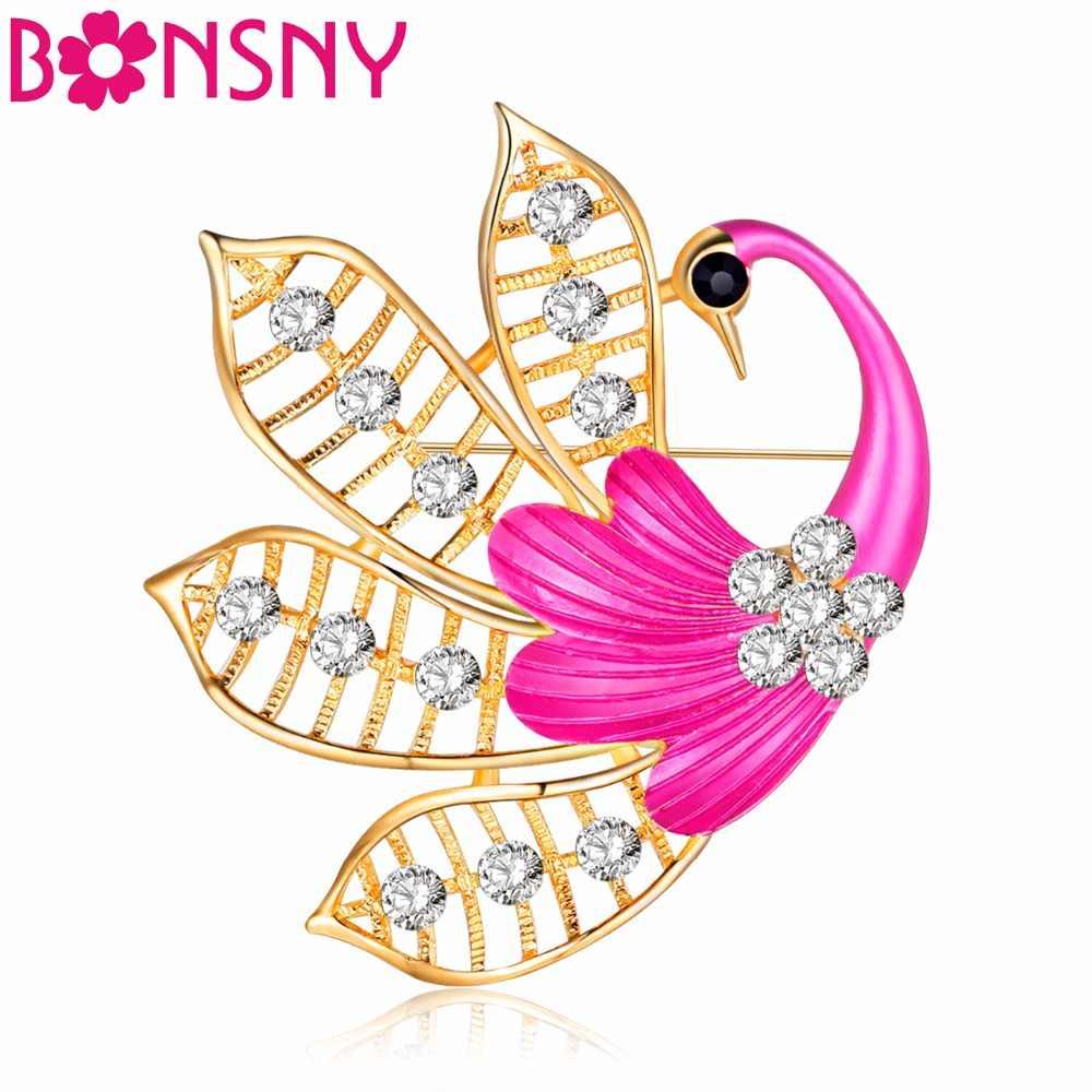 Bonsny Strass Uccello Gru Spilla Per Le Donne Matrimonio Spille Pin Per Il Collare Vestito Decorazione Sciarpa Accessori Dei Monili di Modo