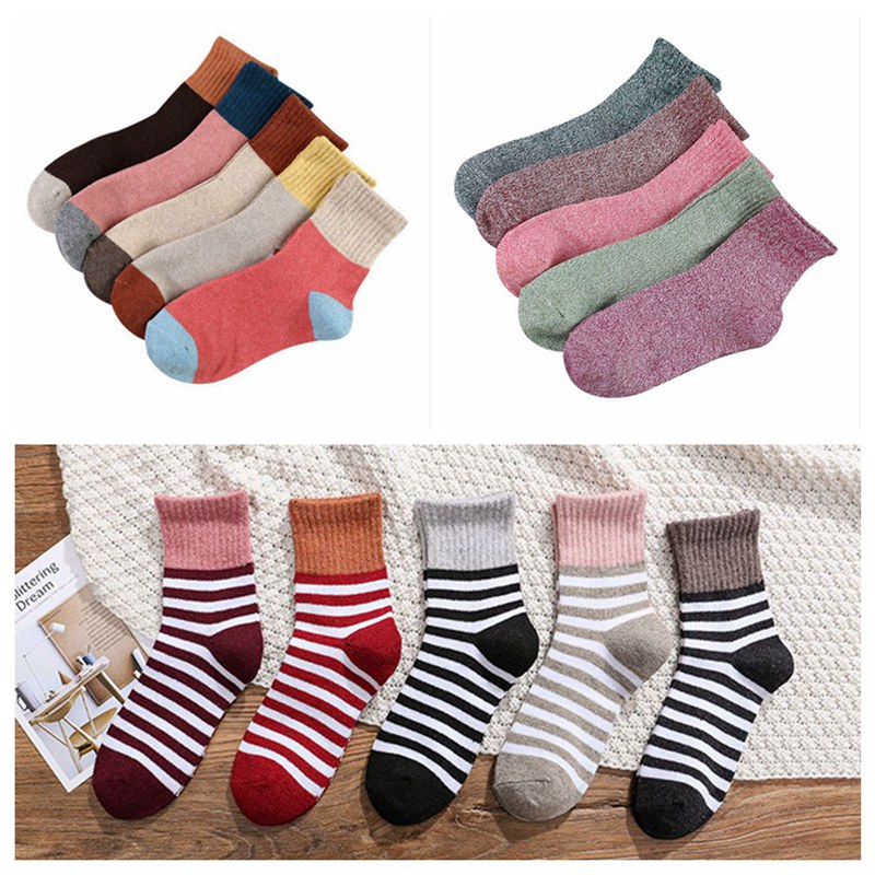 Hot 5 Pairs Women's Autumn Winter Cotton Warmer Socks Ladies Soft Breathable Thicked Casual Multicolor Striped Socks CLL9033